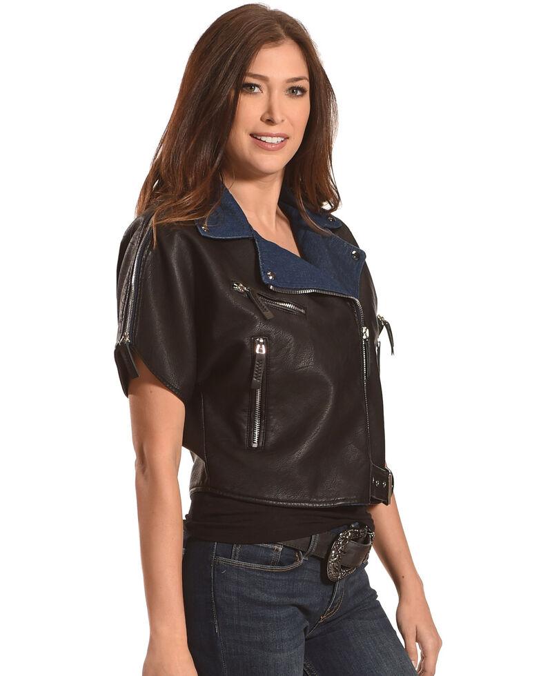 Tractr Women's Short Sleeve Leather Jacket , Black, hi-res