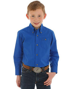Wrangler Boys' Blue Classic Button Long Sleeve Western Shirt , Blue, hi-res