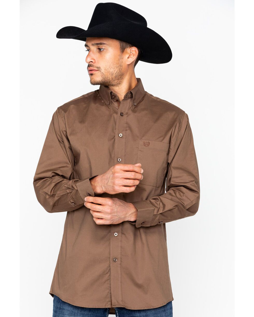Panhandle Men's Solid Stretch Poplin Shirt , Brown, hi-res