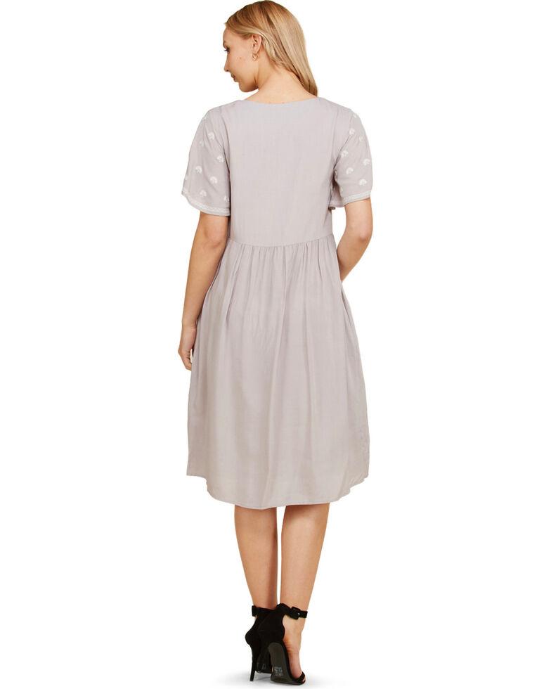Polagram Women's Embroidered Short Sleeve Dress, Grey, hi-res