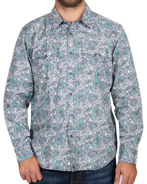 Cody James® Men's Rodeo Paisley Long Sleeve Shirt, Grey, hi-res