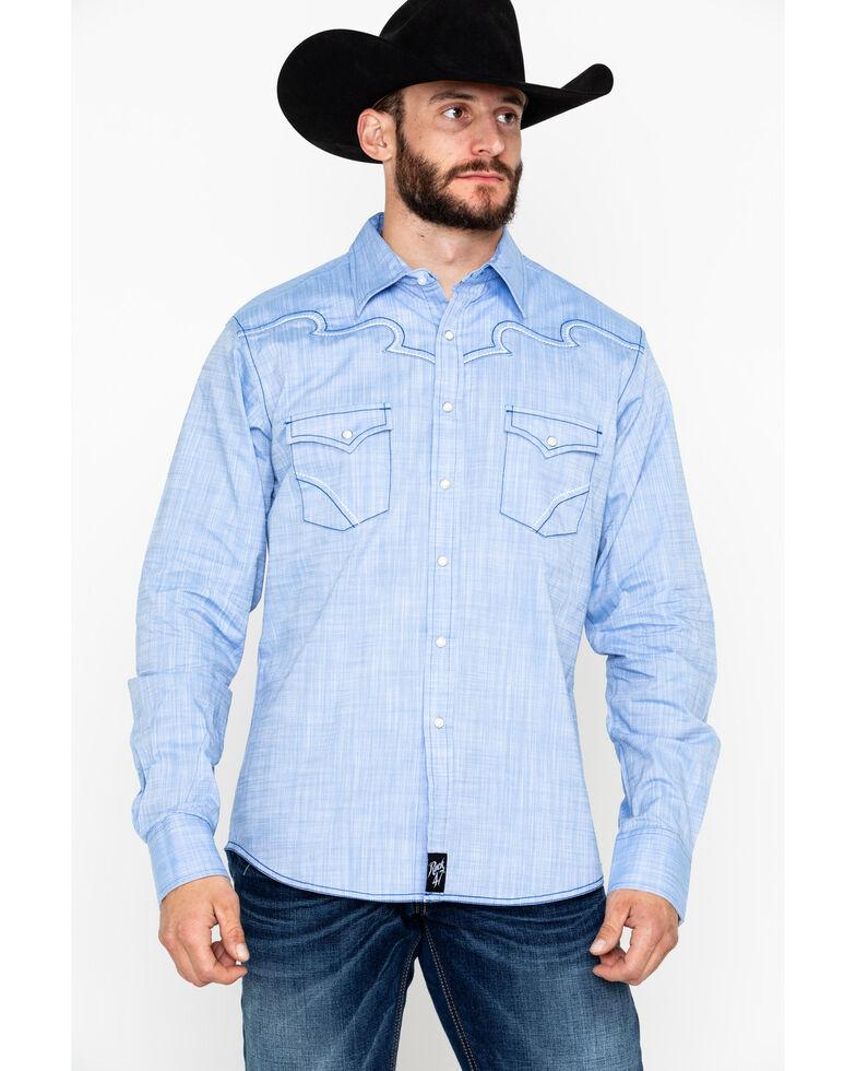Rock 47 by Wrangler Men's Solid Embroidered Long Sleeve Western Shirt  , Light Blue, hi-res