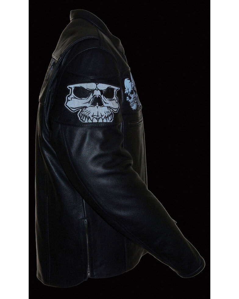 Milwaukee Leather Men's Reflective Skull Crossover Scooter Jacket - 3X, Black, hi-res