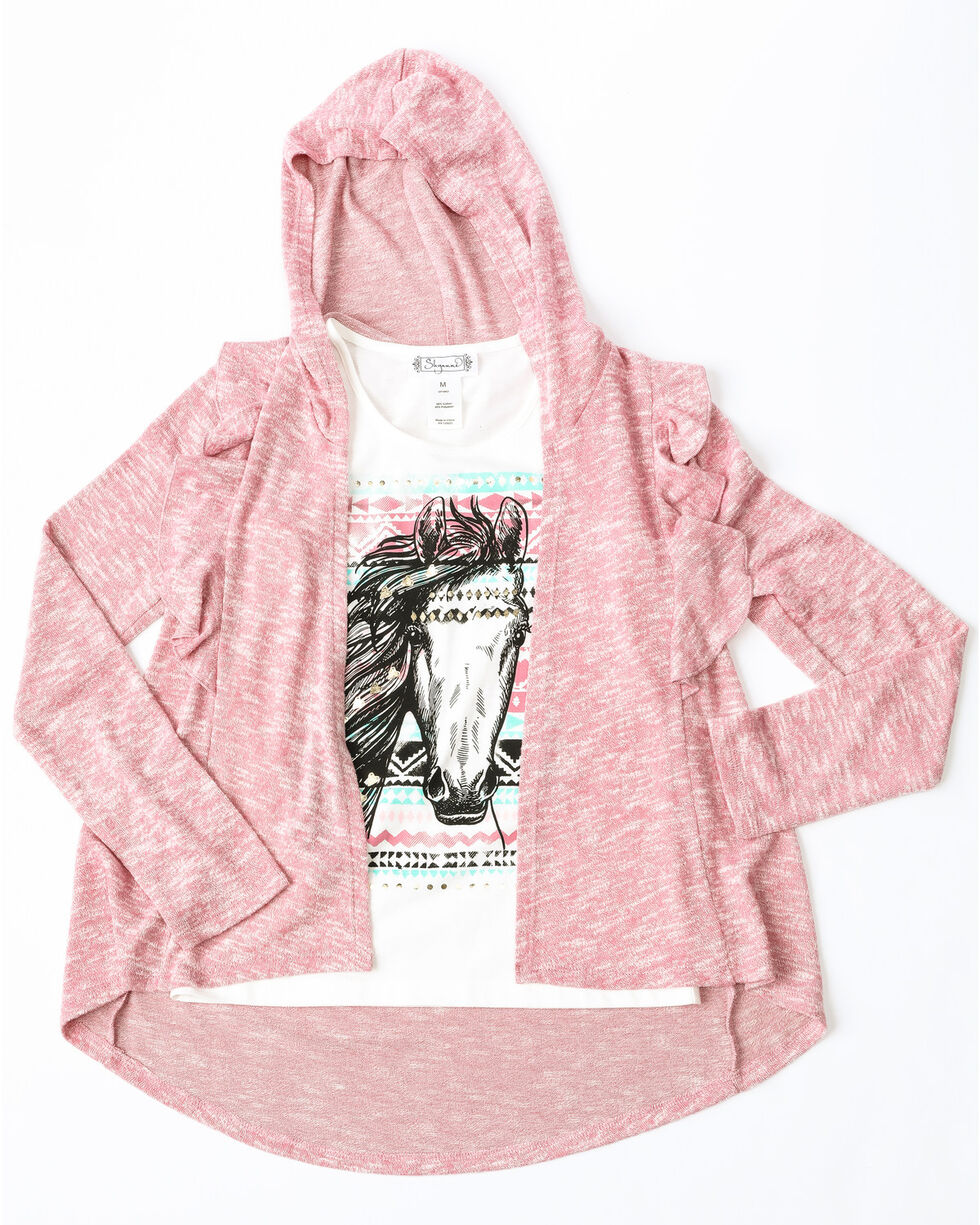 Shyanne Girls' Solid Ruffle Sweater Graphic Tank Top Set , Pink, hi-res
