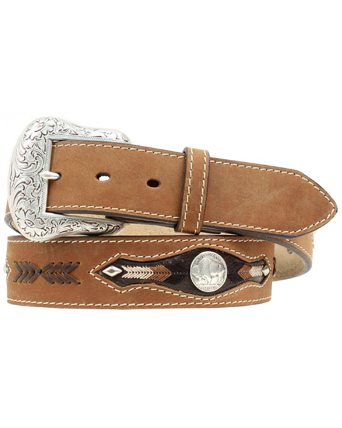 Fort Worth Berry Conchos Western Leather Scalloped Belt