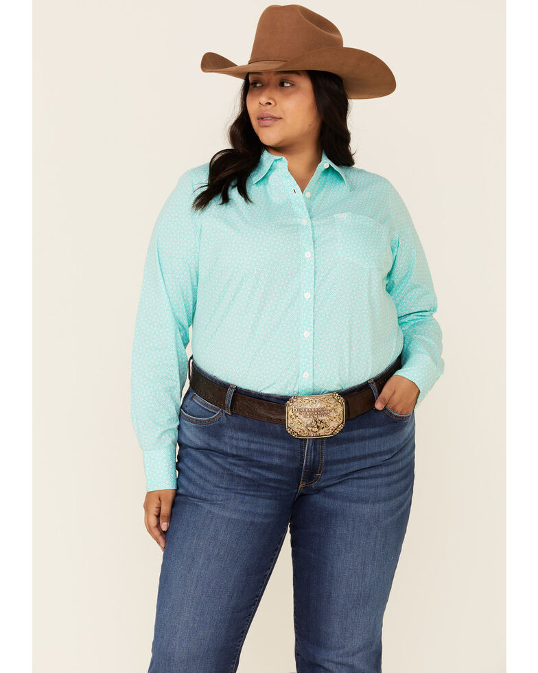 Ariat Women's Turquoise Print Kirby Button-Down Western Core Shirt - Plus, Turquoise, hi-res