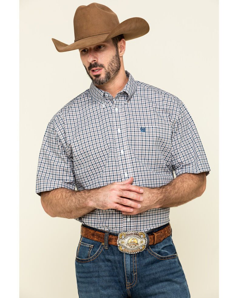 Cinch Men's Multi Small Plaid Weave Button Short Sleeve Western Shirt - Big , Multi, hi-res