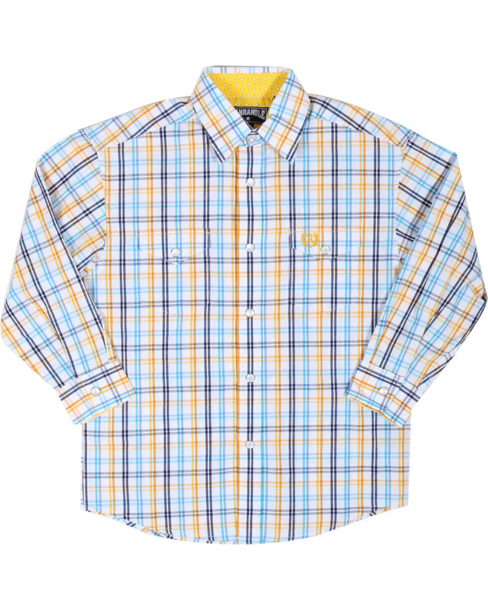 Panhandle Boys' Long Sleeve Button Down Snap Shirt, Blue, hi-res