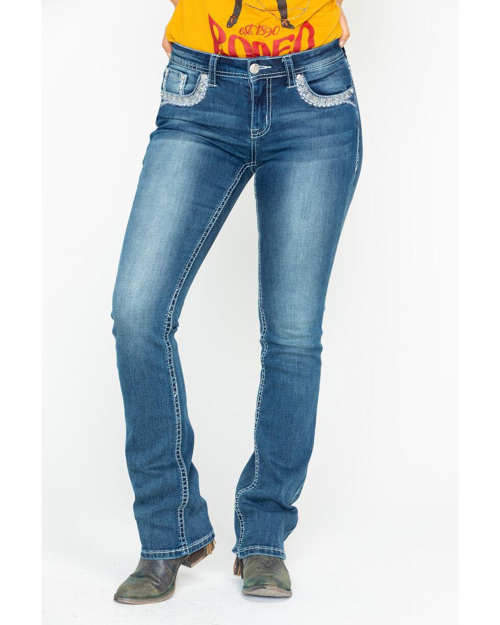 Grace In LA Women's Mid Rise Medium Boot Cut Jeans, Blue, hi-res