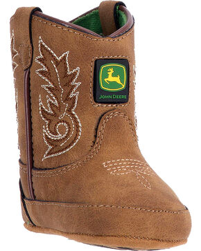 John Deere Infant Broad Square Toe Crib Western Boots, Tan, hi-res