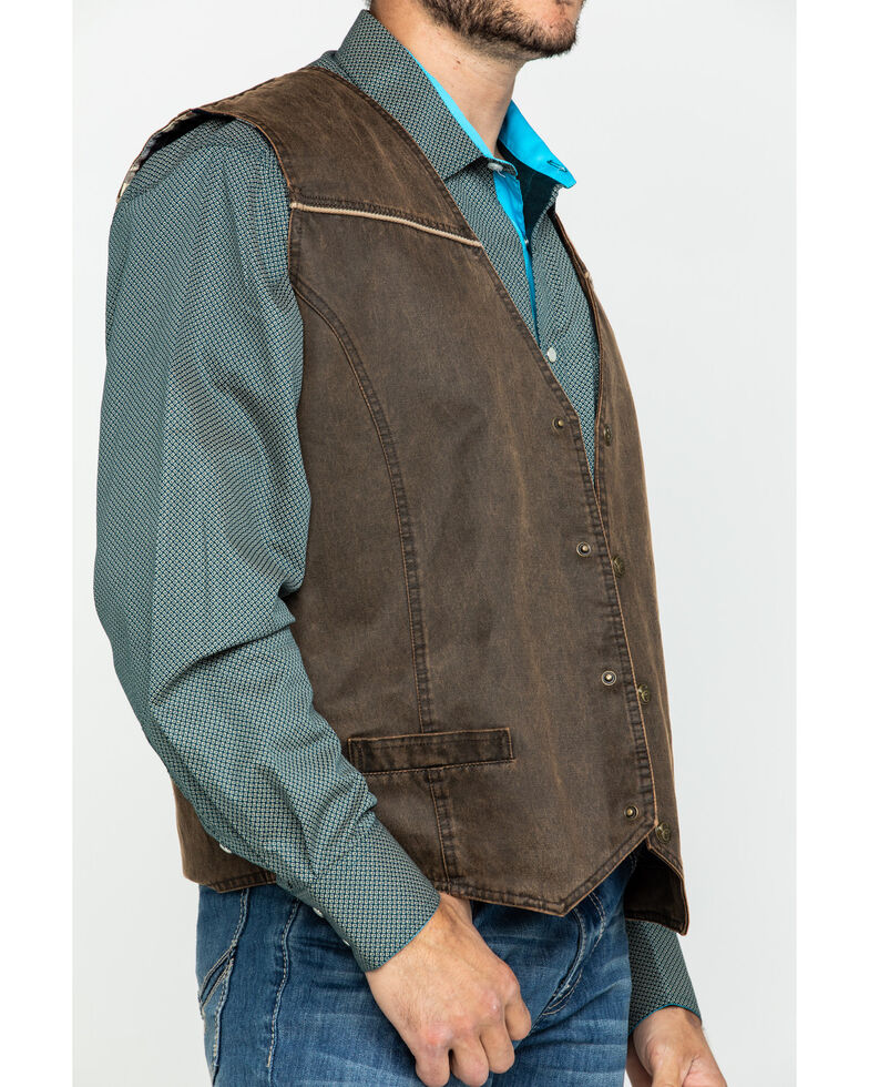 Cripple Creek Men's Enzyme Washed Snap Front Leather Vest , Chocolate, hi-res