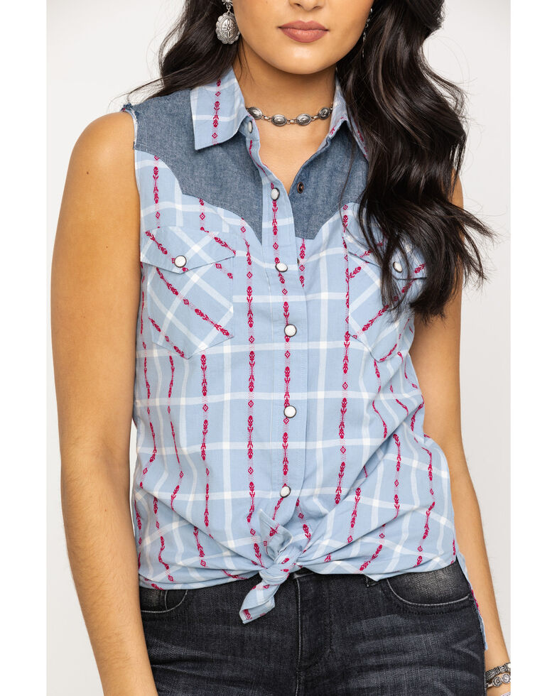 Shyanne Life Women's Blue Dobby Button Sleeveless Western Shirt, Blue, hi-res