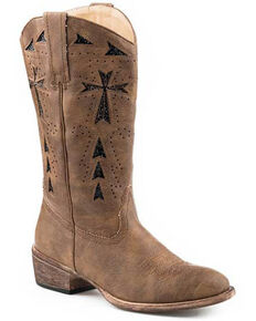 Roper Women's All Over Vintage Tan Western Boots - Round Toe, Tan, hi-res