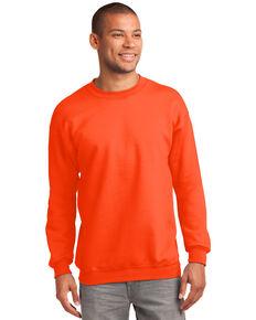 Port & Company Men's Safety Orange 2X Essential Fleece Crew Work Sweatshirt - Tall , Orange, hi-res