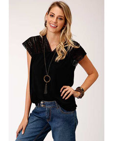Studio West Women's Black Crochet Lace Top, Black, hi-res