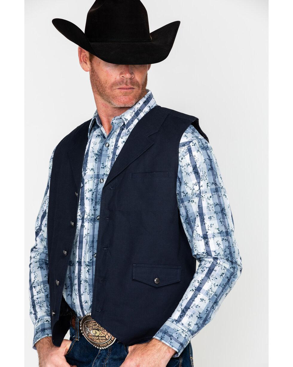 Moonshine Spirit Men's Silver Dollar Slub Canvas Vest , Black, hi-res