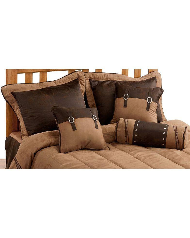 HiEnd Accents Embroidered Barbwire Comforter Set, Dark Brown, hi-res