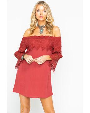 Shyanne Women's Solid Crochet Trim Off The Shoulder Dress , Rust Copper, hi-res