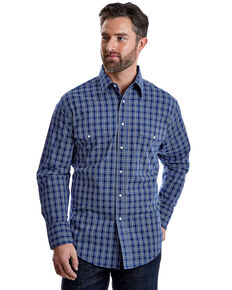 Wrangler Men's Wrinkle Resist Navy Plaid Long Sleeve Western Shirt , Blue, hi-res