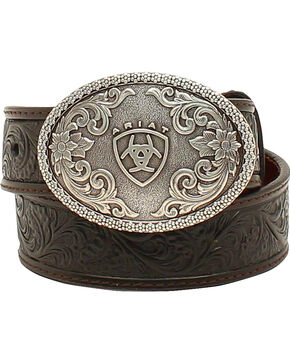 Ariat Boys Holden Tooled Belt, Black, hi-res