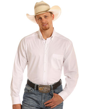 Tuf Cooper Men's Stretch Poplin Birdseye Long Sleeve Shirt, White, hi-res