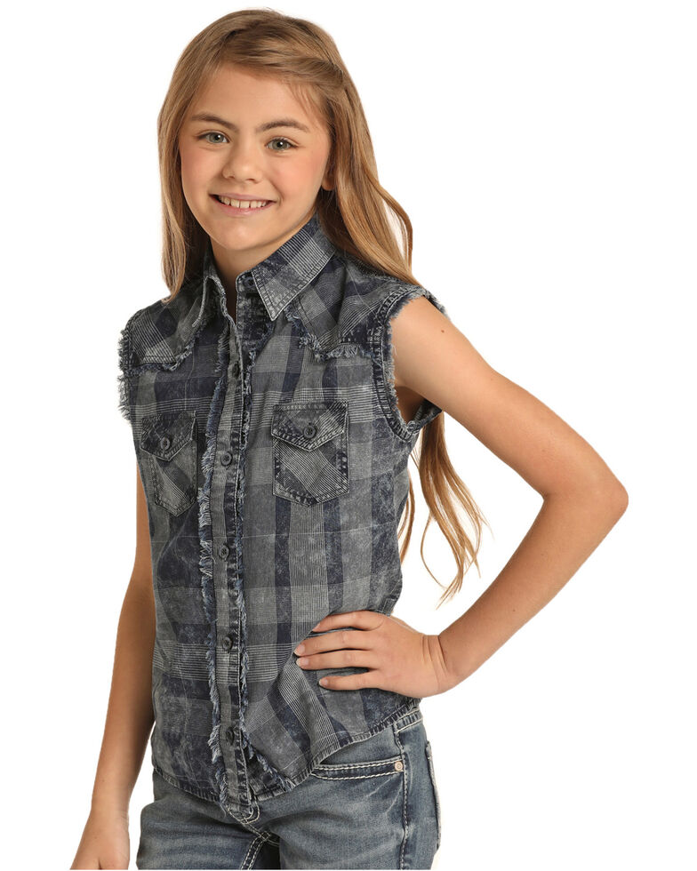 Rock & Roll Cowgirl Girls' Charcoal Plaid Button Sleeveless Western Top , Grey, hi-res