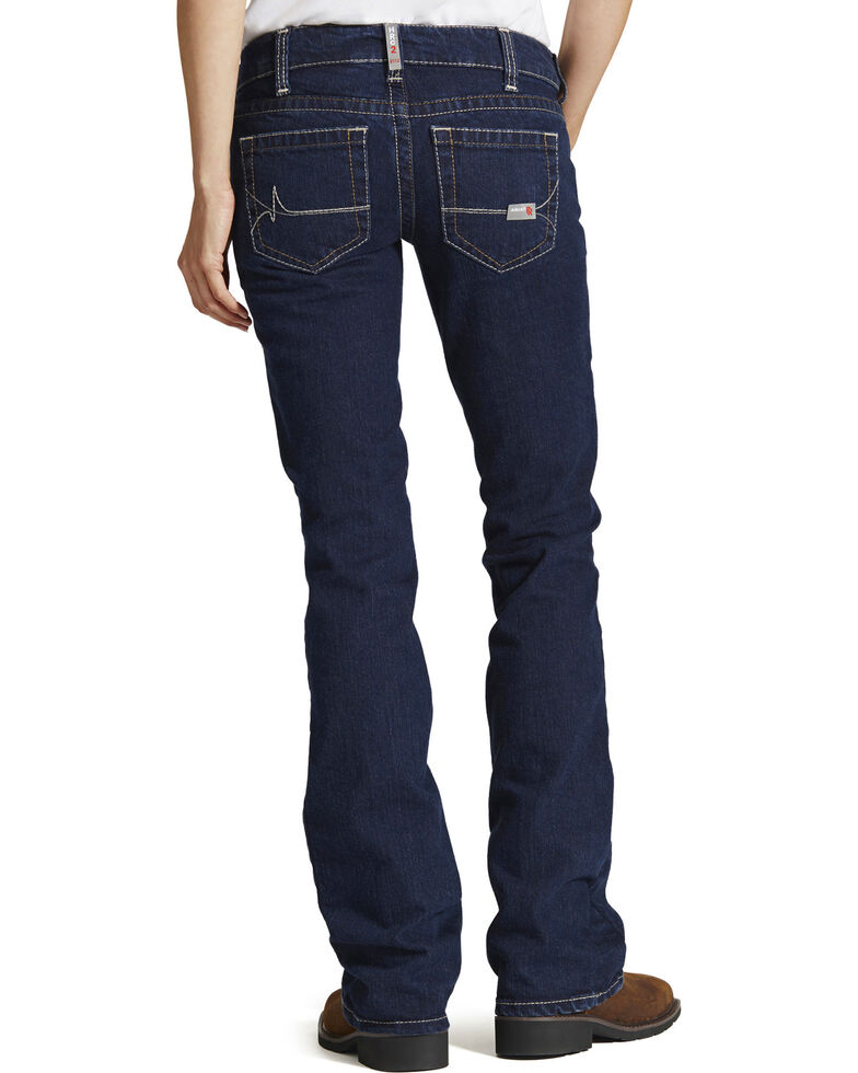 Ariat Women's Mid Rise Flame Resistant Boot Cut Jeans, Stonewash, hi-res