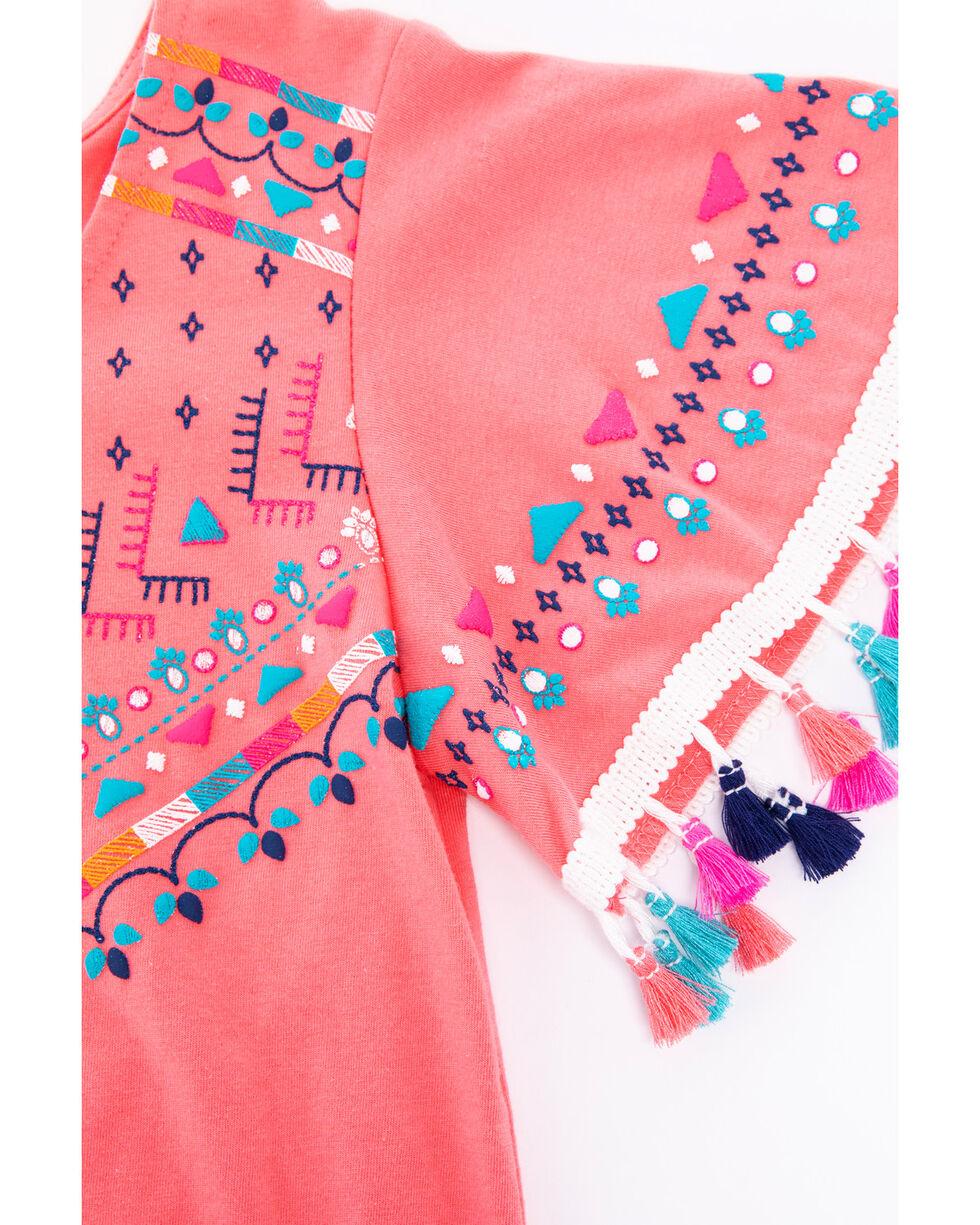 Shyanne Girls' Tassel Tie-Front Short Sleeve Top , Coral, hi-res