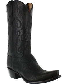 Lucchese Men's Exotic Elephant Western Boots, Black, hi-res