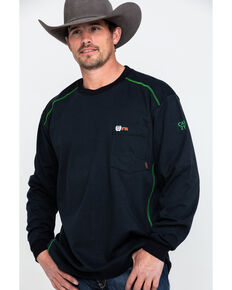 Cinch Men's Pocket Crew Long Sleeve Work T-Shirt , Black, hi-res