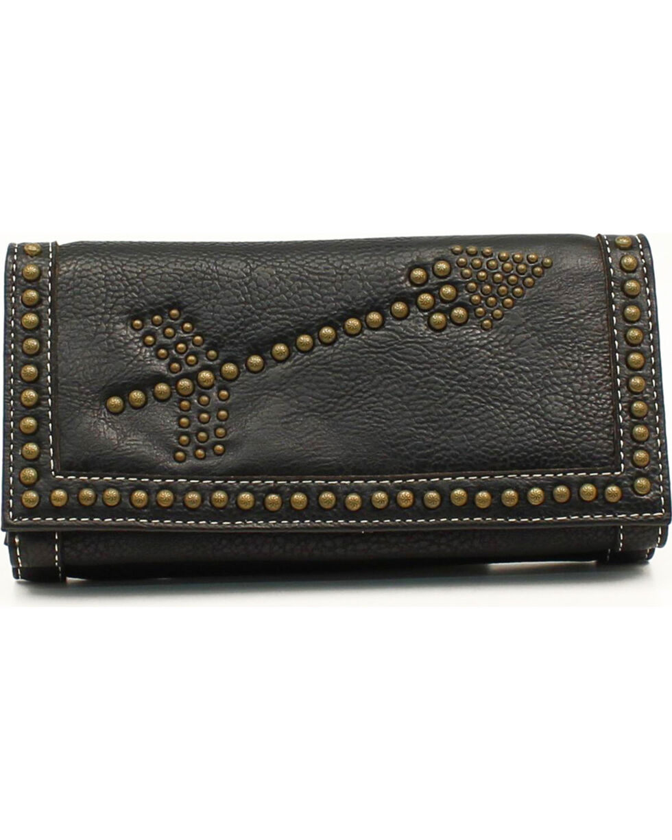 Blazin Roxx Women's Brass Studded Arrows Wallet, Black, hi-res
