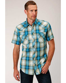 West Made Men's Tide Pool Dobby Plaid Short Sleeve Western Shirt, Blue, hi-res