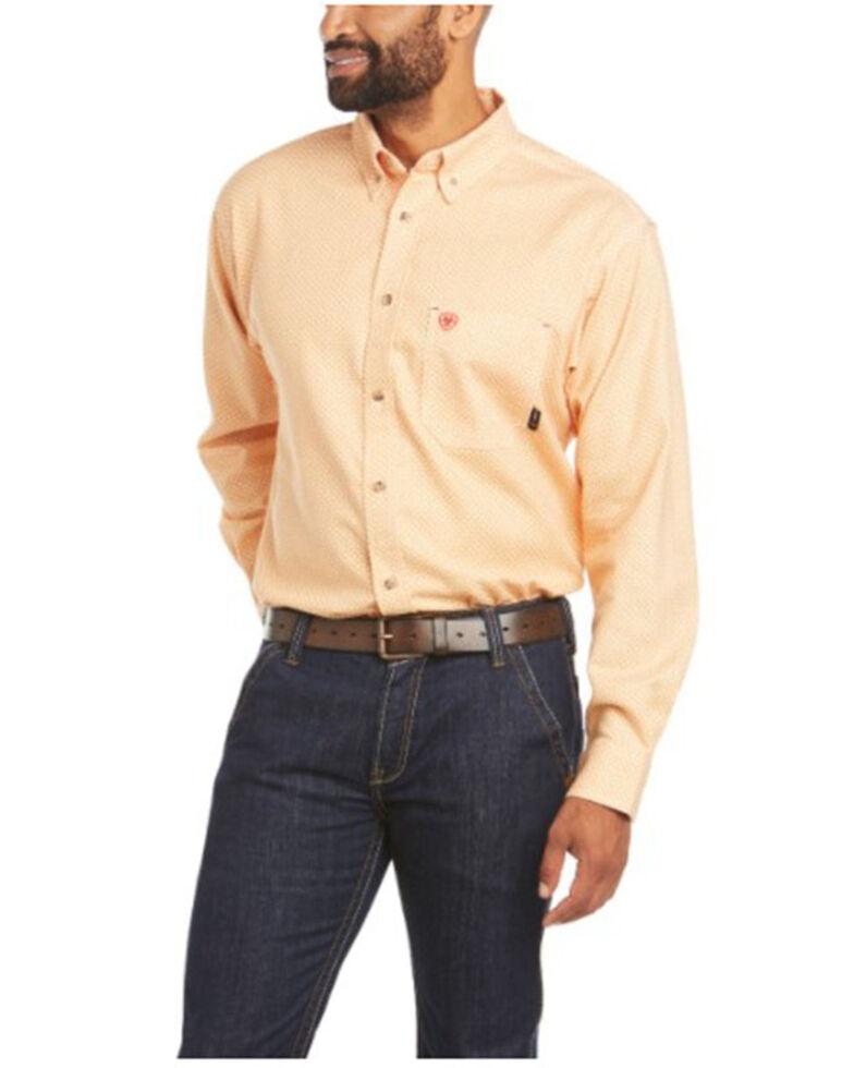Ariat Men's FR Sutherland Print Durastretch Long Sleeve Button-Down Work Shirt - Big & Tall  , Orange, hi-res