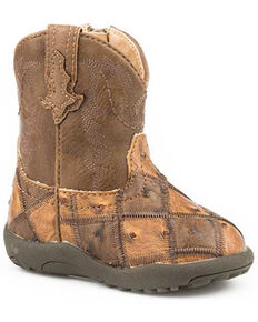 Roper Infant Boys' Bird Blosk Western Boots - Round Toe, Tan, hi-res