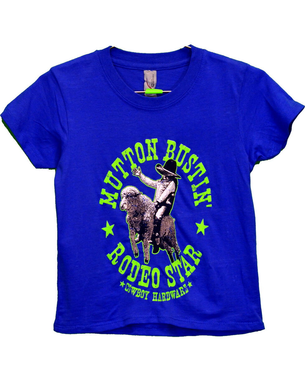 Cowboy Hardware Boys' Mutton Bustin' Short Sleeve Tee, Royal Blue, hi-res