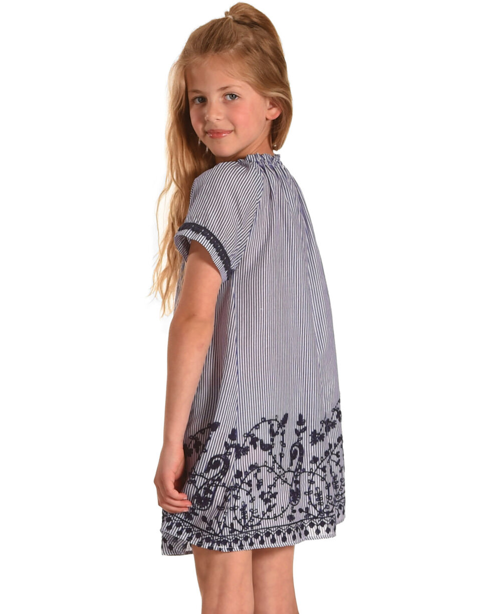 Idol Mind Girls' Embroidered Peasant Dress, Blue, hi-res