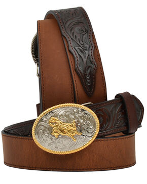 3D Kid's Floral and Solid Leather Western Belt, Brown, hi-res