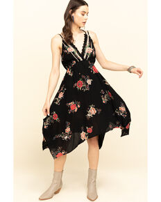 Angie Women's Black Floral Hanky Hem Dress, Black, hi-res