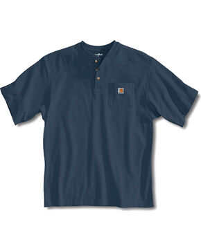 Carhartt Short Sleeve Henley Work Shirt, Blue Stone, hi-res