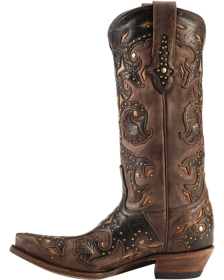 Lucchese Women's Studded Scarlette Western Boots, Cafe, hi-res