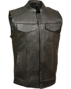 Milwaukee Leather Men's Black Open Neck Club Style Vest - 5X , Black, hi-res