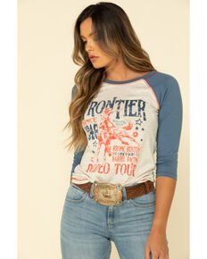 Red Label by Panhandle Women's Blue & White Frontier Baseball Tee, Blue, hi-res
