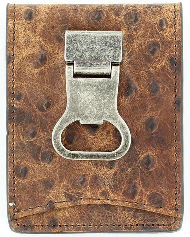 DBL Barrel Ostrich Money Clip Wallet, Brown, hi-res