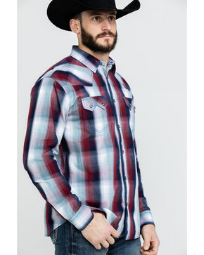 Moonshine Spirit Men's Light It Up Plaid Long Sleeve Western Shirt , Burgundy, hi-res
