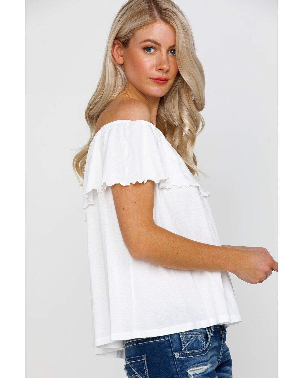 Panhandle Women's Red Label Off Shoulder Flounce Knit Top, White, hi-res