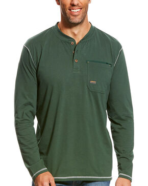 Ariat Men's Hunter Green Rebar Long Sleeve Pocket Henley, Hunter Green, hi-res
