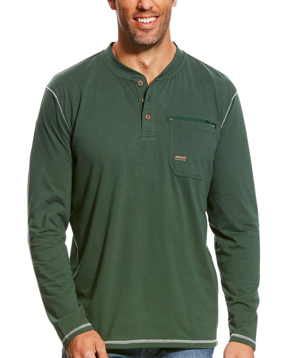 Ariat Men's Hunter Green Rebar Long Sleeve Pocket Henley, Hunter Green, hi-res