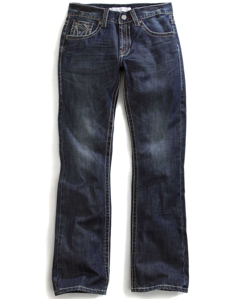 Tin Haul Men's Jagger Fit Multi Stitch Bootcut Jeans, Denim, hi-res