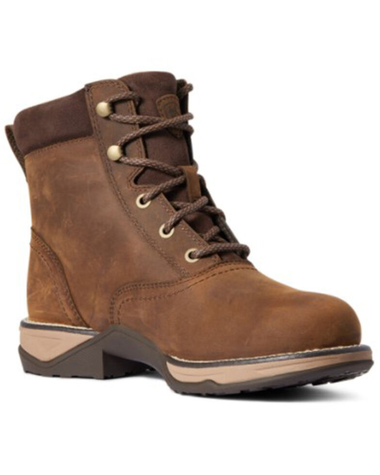 Ariat Women's Distressed Brown Anthem Lacer H20 Leather Hiking Boot - Round Toe, Brown, hi-res