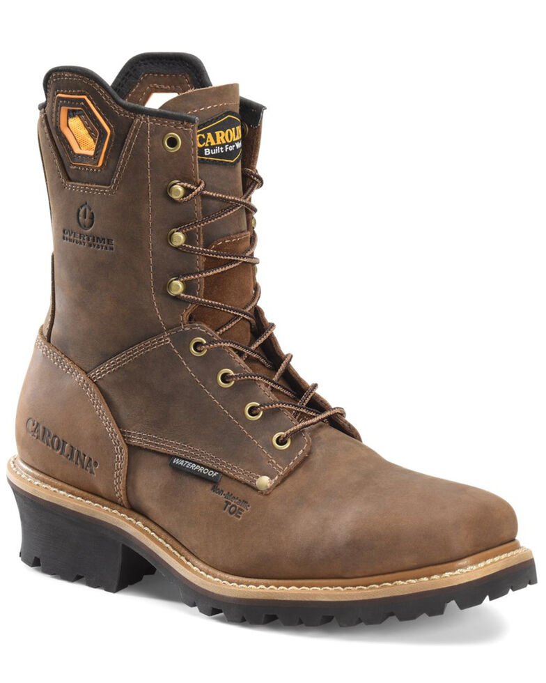 Carolina Men's Coppice Waterproof Logger Boots - Composite Toe, Brown, hi-res